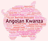 Angolan Kwanza Means Exchange Rate And Coin — Stock Photo