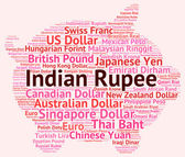 Indian Rupee Shows Worldwide Trading And Foreign — Stock Photo