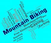 Mountain Biking Indicates Peak Cycling And Bike — Stock Photo