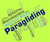 Paragliding Word Shows Text Glider And Parashute — Stock Photo