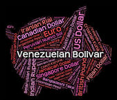 Venezuelan Bolivar Indicates Foreign Exchange And Broker — Stock Photo