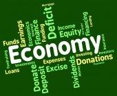 Economy Word Represents Economizing Text And Economies — Stock Photo