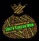 South Korean Won Represents Worldwide Trading And Currencies — Stock Photo