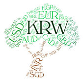 Krw Currency Indicates South Korea Won And Exchange — Stock Photo