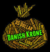 Danish Krone Represents Currency Exchange And Banknotes — Stock Photo