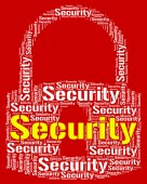 Security Lock Means Wordcloud Secured And Word — Stock Photo