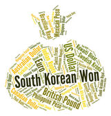 South Korean Won Represents Foreign Currency And Coinage — Stock Photo