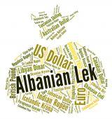 Albanian Lek Means Currency Exchange And Banknote — Stock Photo