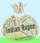 Indian Rupee Shows Exchange Rate And Foreign — Stock Photo