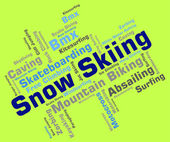 Snow Skiing Indicates Winter Sport And Skis — Stock Photo