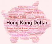Hong Kong Dollar Shows Currency Exchange And Banknotes — Stock Photo
