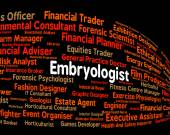 Embryologist Job Means Recruitment Words And Occupation — Stock Photo
