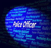 Police Officer Shows Law Enforcement And Administrator — Stock Photo