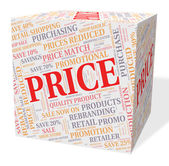 Price Cube Means Word Text And Valuation — Stock Photo