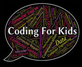 Coding For Kids Represents Program Ciphers And Toddlers — Stock Photo