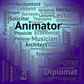 Animator Job Represents Word Hire And Career — Stock Photo