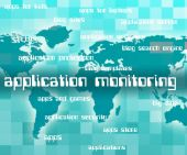 Application Monitoring Shows Observer Words And Apps — Stock Photo