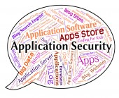 Application Security Represents Word Restricted And Applications — Stock Photo