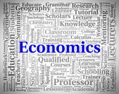 Economics Word Indicates Text Monetary And Economize — Stock Photo