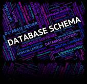 Database Schema Indicates Schemas Charts And Word — Stock Photo