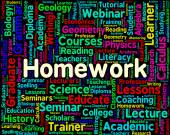 Homework Word Indicates Assignments Text And Education — Stock Photo