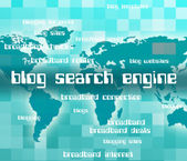 Blog Search Engine Indicates Gathering Data And Analyse — Stock Photo