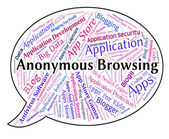 Anonymous Browsing Indicates Word Mystery And Unnamed — Stock Photo