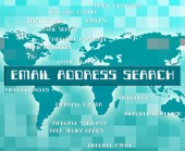 Email Address Search Indicates Gathering Data And Analyse — Stock Photo