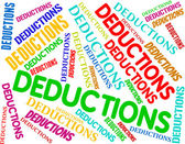 Deductions Words Indicates Clearance Promo And Reduce — Stock Photo