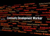 Community Development Worker Shows White Collar And Advance — Stock Photo