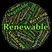 Renewable Word Shows Go Green And Reconditionable — Stock Photo