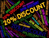 Twenty Percent Discount Shows Words Sale And Text — Stock Photo