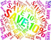 Ten Percent Off Represents Bargains Closeout And Cheap — Stock Photo