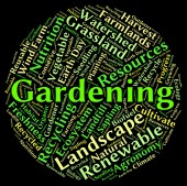 Gardening Word Represents Outdoors Outside And Planting — Stock Photo