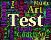 A palavra teste indica exames testados e avaliar — Fotografia Stock