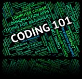 Word Coding Represents Code Guides And Guideline — Stock Photo