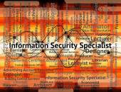 Information Security Specialist Indicates Skilled Person And Occ — Stock Photo