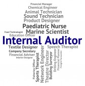 Internal Auditor Represents Text Actuary And Auditing — Stock Photo