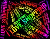 I Love Shopping Represents Commercial Activity And Affection — Stock Photo