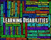 Learning Disabilities Words Shows Special Needs And Educated — Stock Photo