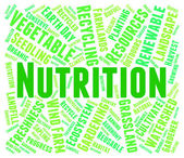 Nutrition Word Shows Food Words And Nutriments — Stock Photo