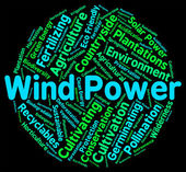 Wind Power Means Renewable Resource And Generate — Stock Photo