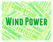 Wind Power Shows Renewable Resource And Electric — Stock Photo