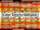 Cyber Security Specialist Shows World Wide Web And Employment — Stock Photo