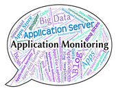 Application Monitoring Shows Words Text And Monitors — Stock Photo