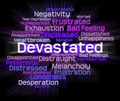 Devastated Word Indicates Stunned Traumatize And Overcome — Stock Photo