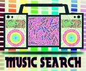 Music Search Indicates Sound Track And Analyse — Stock Photo