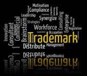 Trademark Word Shows Brand Name And Insignia — Stock Photo