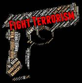 Fight Terrorism Represents Stop Sign And Halt — Stock Photo