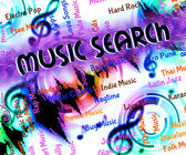Music Search Shows Sound Track And Acoustic — Stok fotoğraf